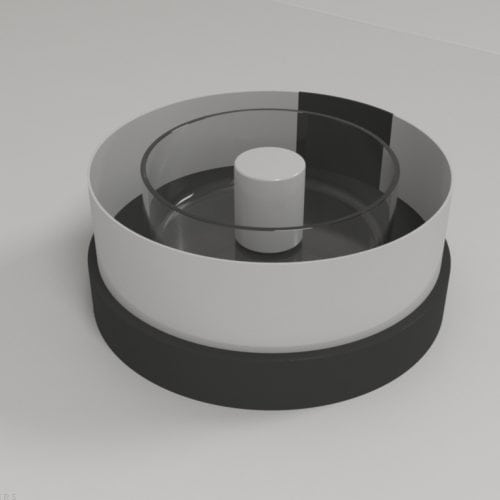 Zebrafish Rotation test apparatus is a circular container with transparent walls surrounded by a rotating acrylic drum
