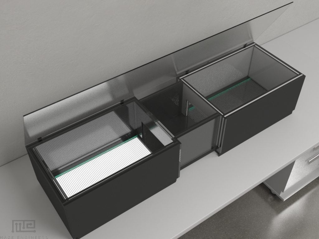 The MazeEngineers automated conditioned place preference consists of two acrylic compartments of the same size interconnected by a central corridor