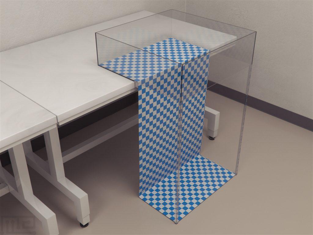 Visual Cliff test apparatus is a single chamber, clear plexiglass box