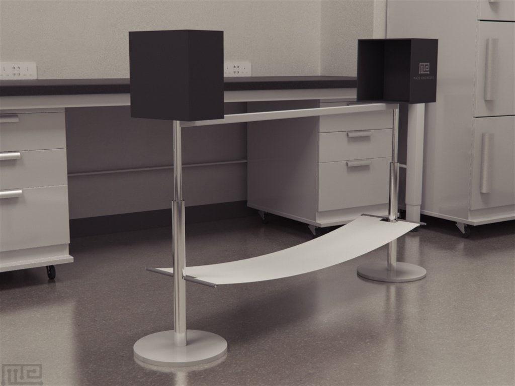 Balance beam is a narrow 'walking bridge' for mice / rats to walk across to test sensorineural balance and coordination