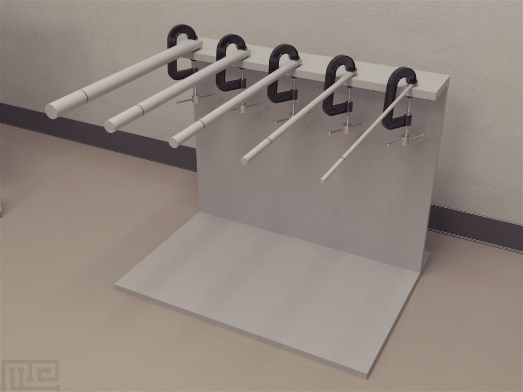 Static Rods task is made of simple dowels and clamps