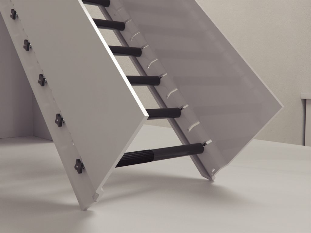 Incline rolling ladder is made up of a ladder opening to a platform, set at an angle of 45 degrees with rungs that have an immobile textured part