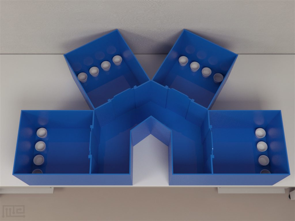 The four-compartment environment is made from acrylic and consists of four rectangular boxes.