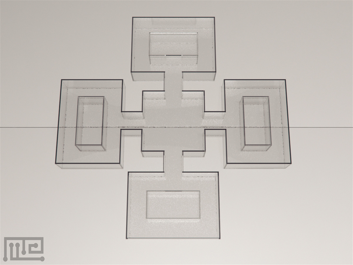 """Zebrafish plus maze is a """"+"""" shaped maze that contains four end compartments and one central compartment"""