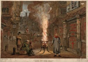 Street with a death cart and mourners during the plague in London.