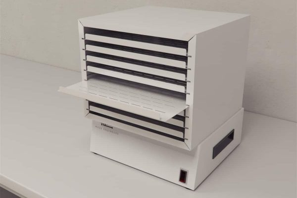 Platelet incubator resembles a simple storage cabinet with multiple levels of horizontal flatbed storing units