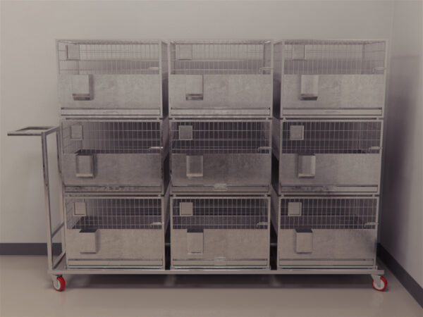 Each trolley is fixed with 3 rabbit cages each of size 600mmx450mmx450mm